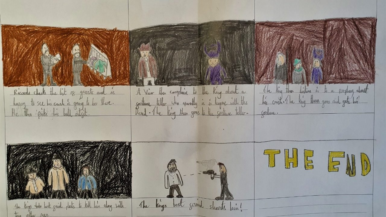 Storyboard project from a student attending the 2020 Schools' Matinee