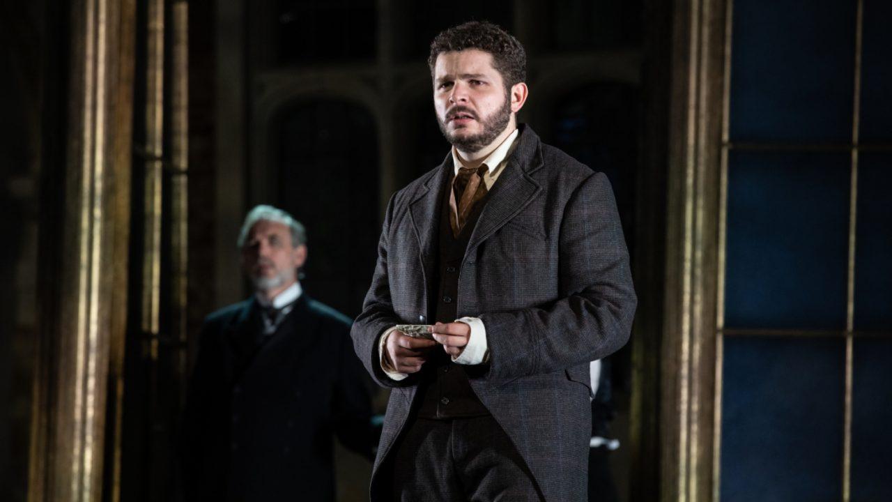 Stephen Gadd as Giorgio Germont and Matteo Desole as Alfredo in La Traviata, 2021 © Ali Wright