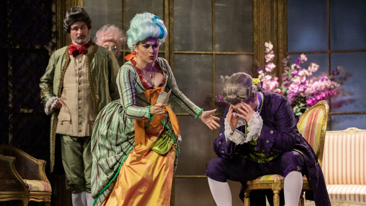 James Cleverton as Bartolo, Victoria Simmonds as Marcellina and Julien Van Mellaerts as Count Almaviva in The Marriage of Figaro, 2021 © Ali Wright