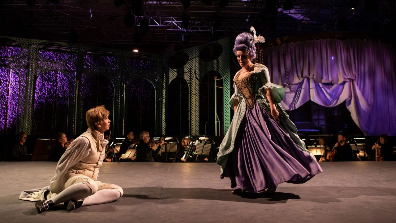 Samantha Price as Cherubino and Claire Lees as Barbarina in The Marriage of Figaro, 2021 © Ali Wright