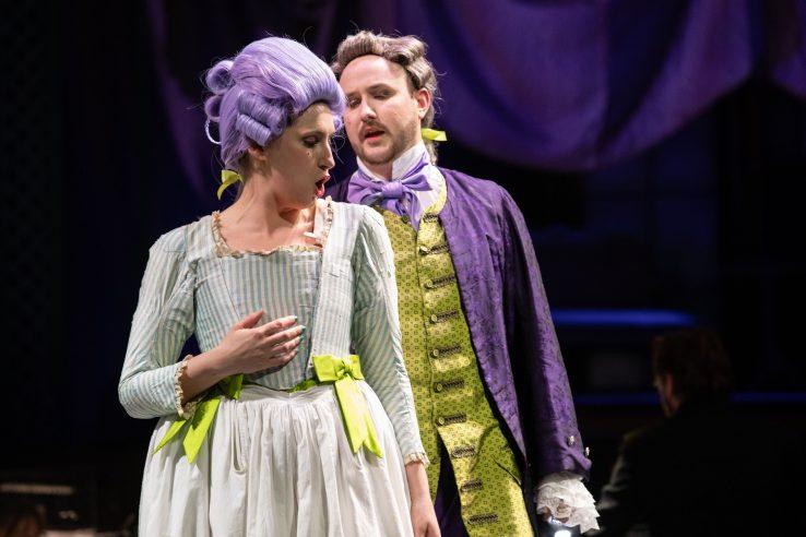 Elizabeth Karani as Susanna and Julien Van Mellaerts as Count Almaviva in The Marriage of Figaro, 2021 © Ali Wright