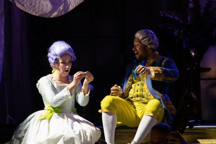 Elizabeth Karani as Susanna and Ross Ramgobin as Figaro in The Marriage of Figaro, 2021 © Ali Wright