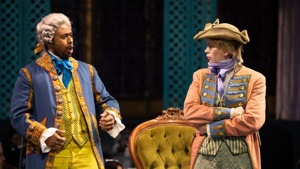 Ross Ramgobin as Figaro and Samantha Price as Cherubino in The Marriage of Figaro, 2021 © Ali Wright