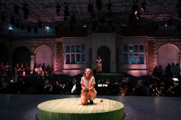 Jennifer France as The Vixen and Julia Sporsén as The Fox in The Cunning Little Vixen at Opera Holland Park, 2021 © Ali Wright