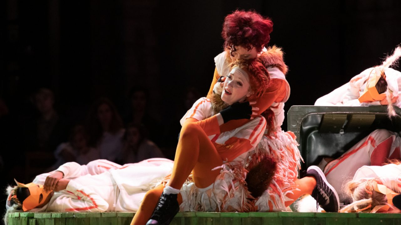Jennifer France as The Vixen and Julia Sporsén as The Fox with members of the Children's Chorus in The Cunning Little Vixen at Opera Holland Park, 2021 © Ali Wright