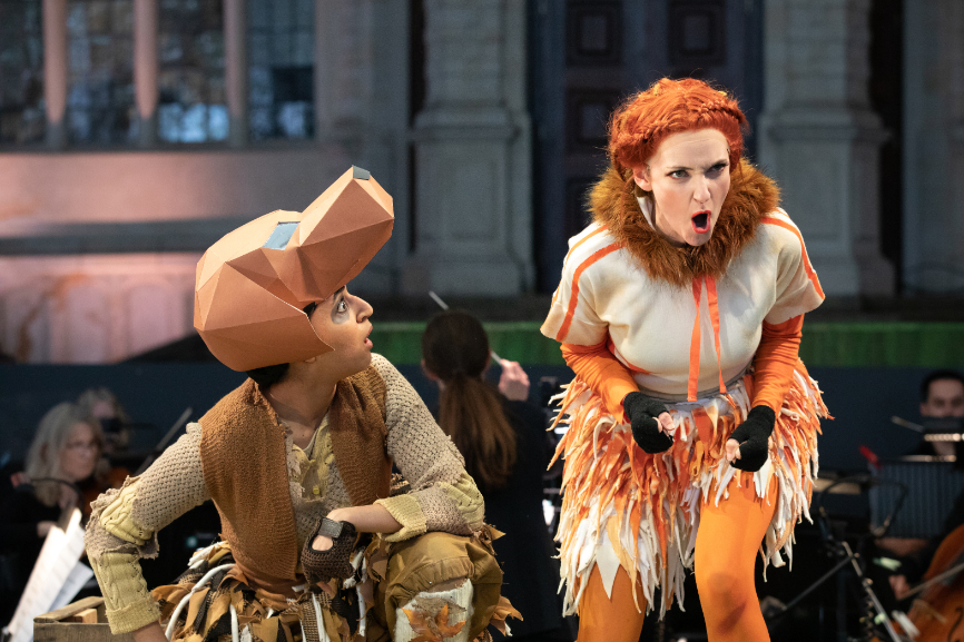 Natasha Agarwal as Lapák, the dog and Jennifer France as The Vixen in The Cunning Little Vixen at Opera Holland Park, 2021 © Ali Wright