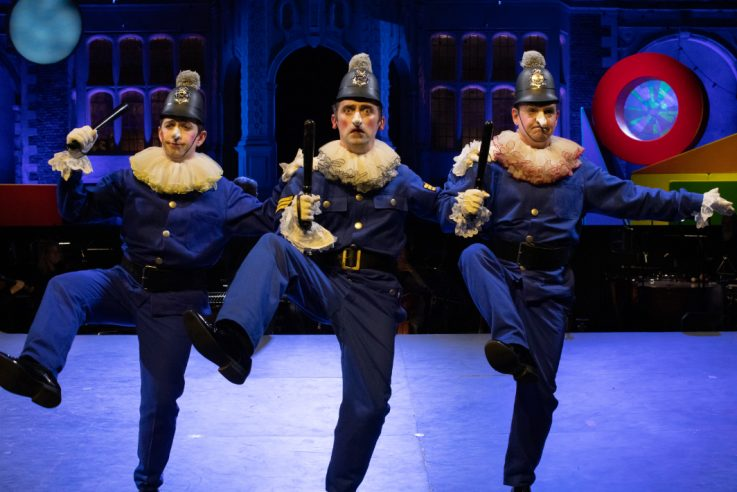 Trevor Eliot Bowes as Sergeant of Police with members of the Opera Holland Park Chorus in The Pirates of Penzance at Opera Holland Park, 2021 © Ali Wright